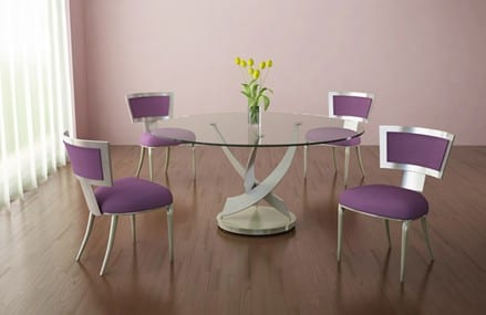 Reef Contemporary Round Glass Dining Table from Elite Manufacturing 9