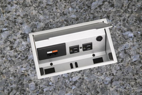 data and power supply on kitchen granite surface