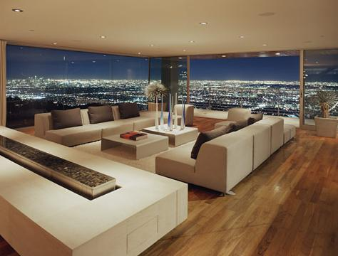Night Time View from Hollywood Hills Living Room