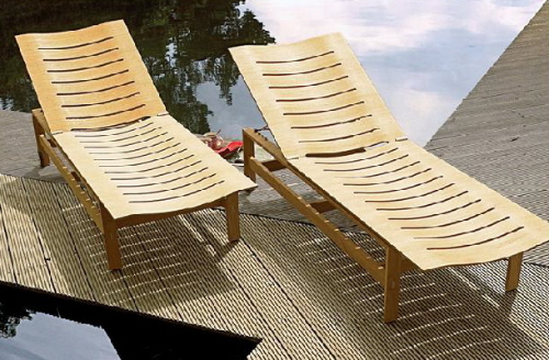 gloster patio furniture bent wood lounge chairs