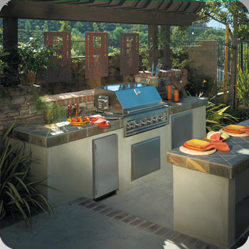 outdoor grill and refrigerator