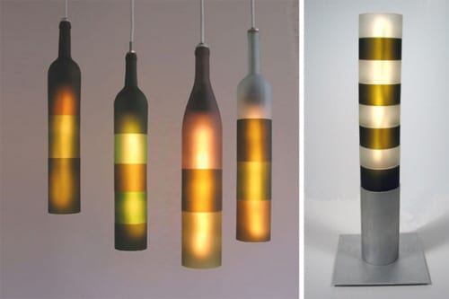 Recycled Wine Bottles Made into Lighting