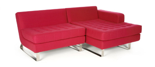 red fabric sofas