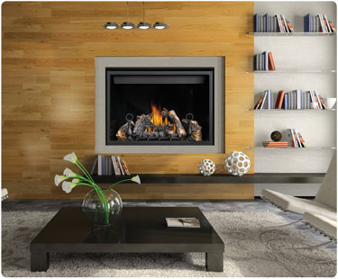 fireplaces in wall with gas