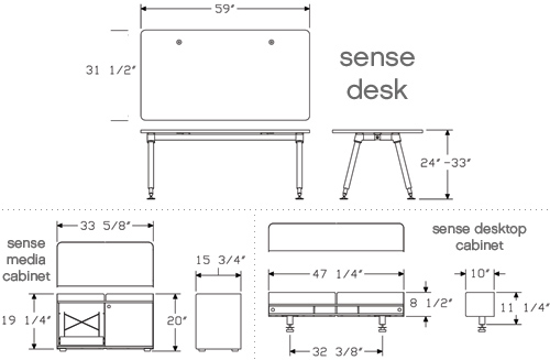 office desk set dimensions