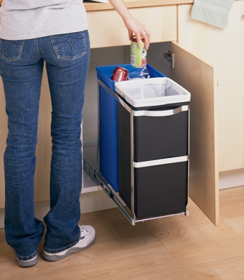 under counter recycling bins and trash cans