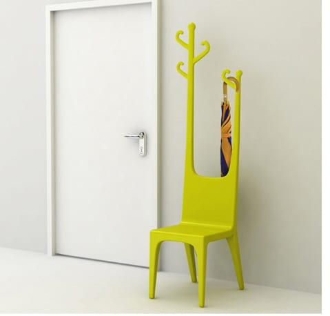 chair and coat rack combination