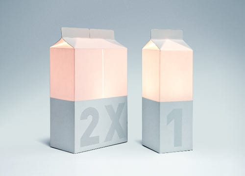 Milk Carton Lamps Are Filled With LED Light