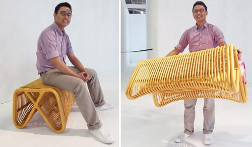 Pretzel Bench by Abie Abdillah is Comfortable Rattan Seating 9