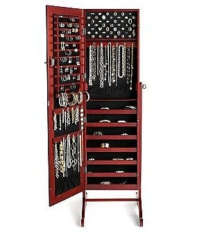 "Mother's Day Gift Ideas: ""Safekeeper"" Mirror Jewelry Organizer Armoire  11"