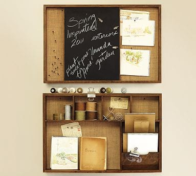 Rustic Wall Organizer With Magnetic Chalkboard And Storage