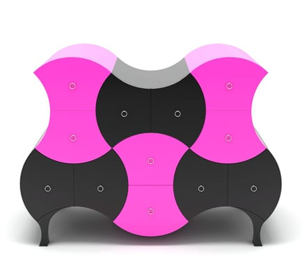 black and pink chest of drawers