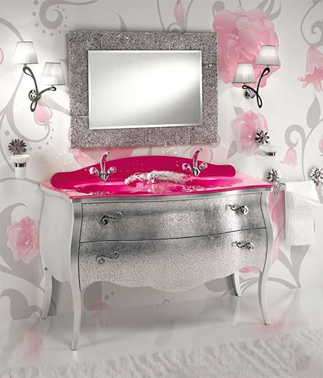 pink and silver bathroom