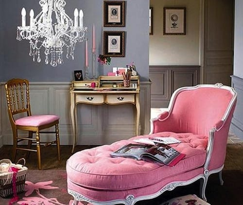 french pink chaise lounge