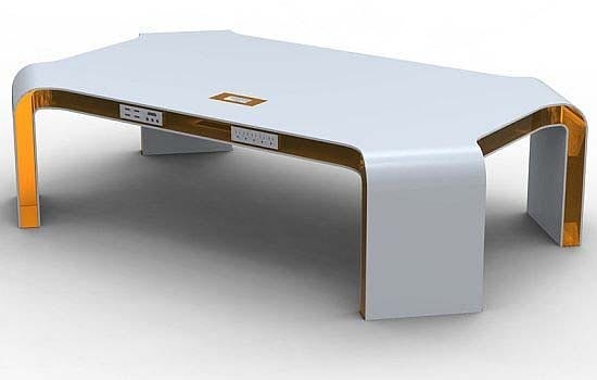 orange and white digital table