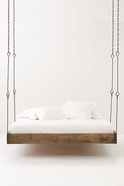 bed, beds, hanging bed, hanging beds, rustic bed, rustic beds, wood bed, wood beds, wooden bed, wooden beds, suspended bed, suspended beds, anthropologie