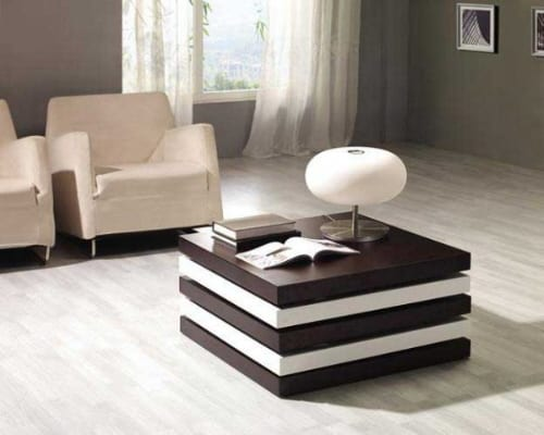 brown and white convertible coffee table