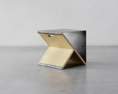 Steel Stool by Noon Studio Can Act as A Bookshelf Too
