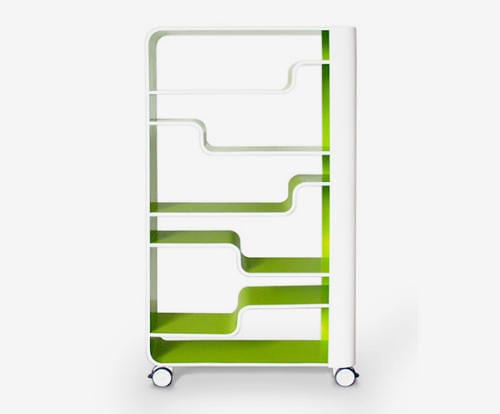 green portable bookshelf