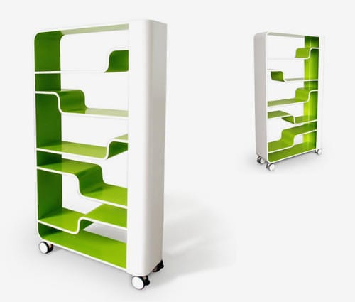 modern bookshelf on wheels