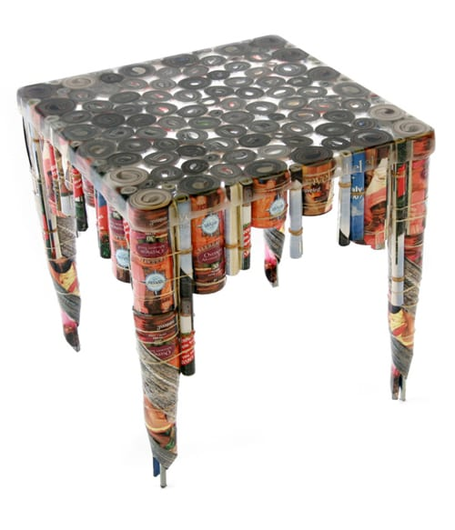 table made of magazines