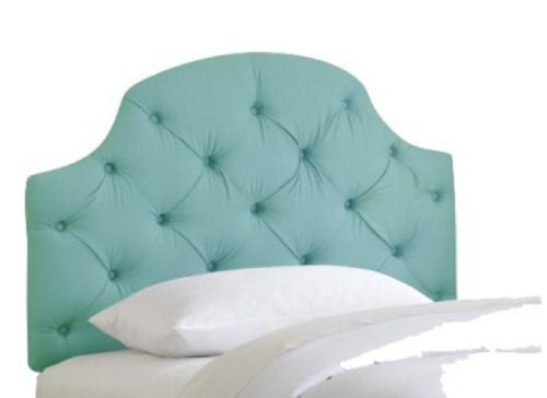 tufted turquoise headboard