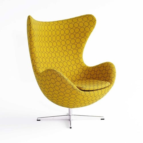 yellow upholstered Egg chair