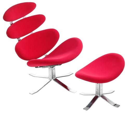 mod red lounge chair