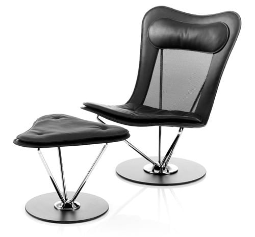 modern black lounge chair and ottoman