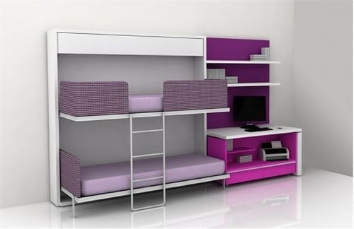 purple bunk bed and desk