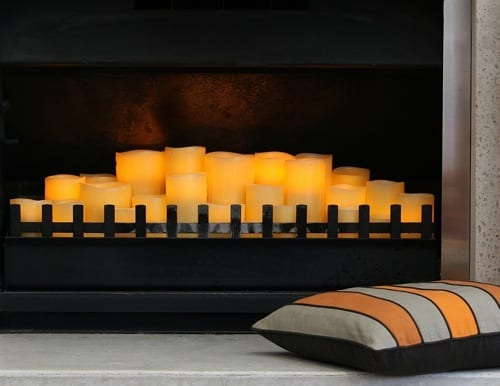 fireplace candle display