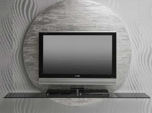 silver round tv stand