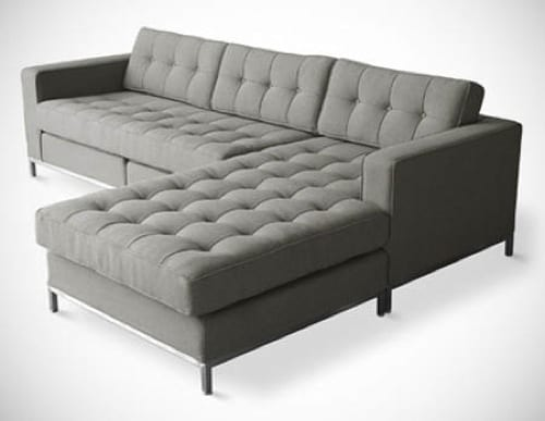 tufted grey sectional sofa
