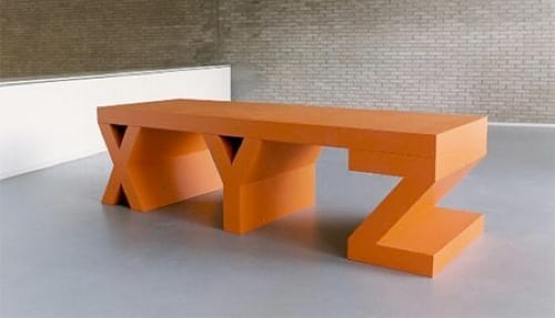 orange XYZ bench