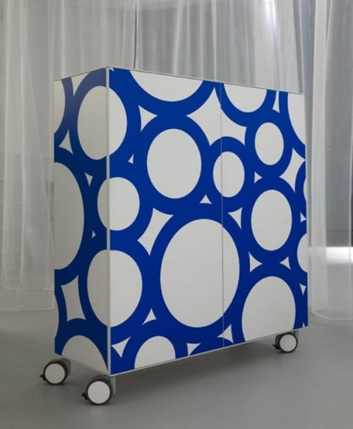 blue and white sideboard