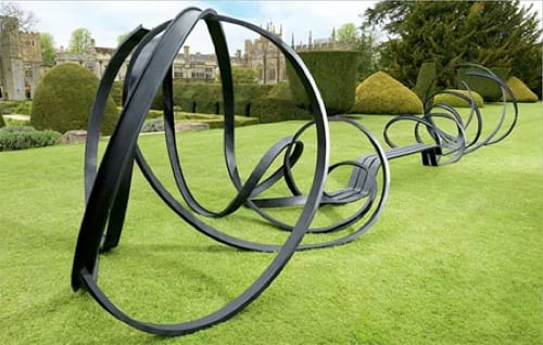 swirly black park art bench