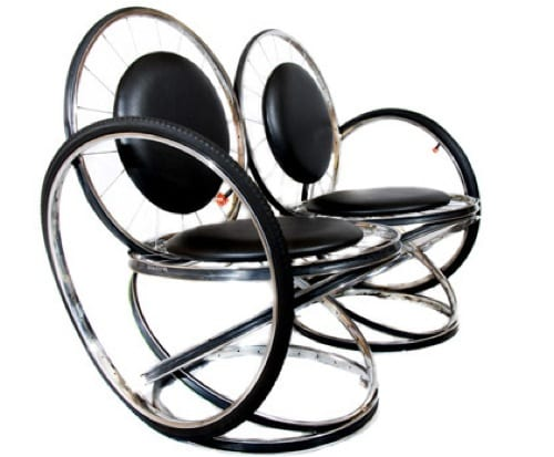 loveseat made of bike parts