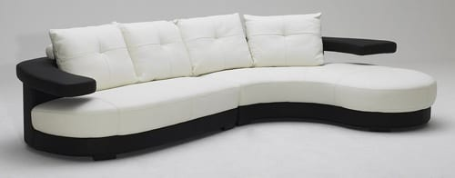 black and white curved sectional
