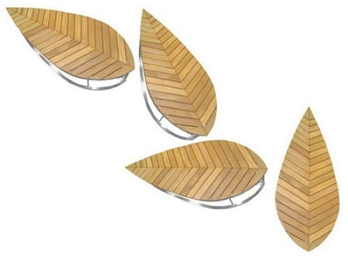 leaf-shaped benches