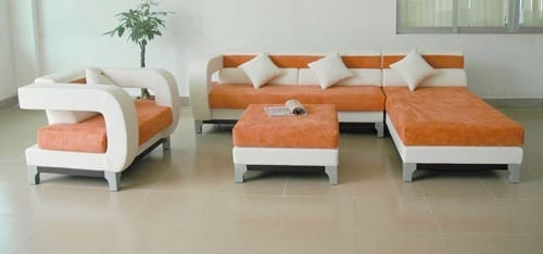sherbet orange sectional