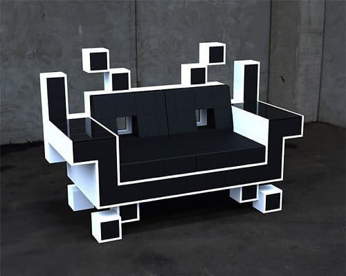 space invader loveseat
