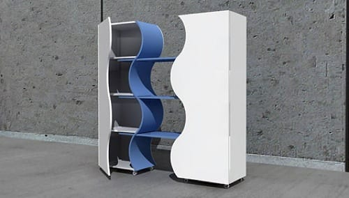 blue and white storage cabinet