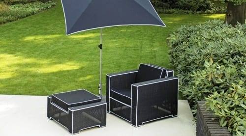 black and white wicker patio set