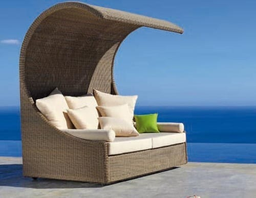 wicker patio sofa