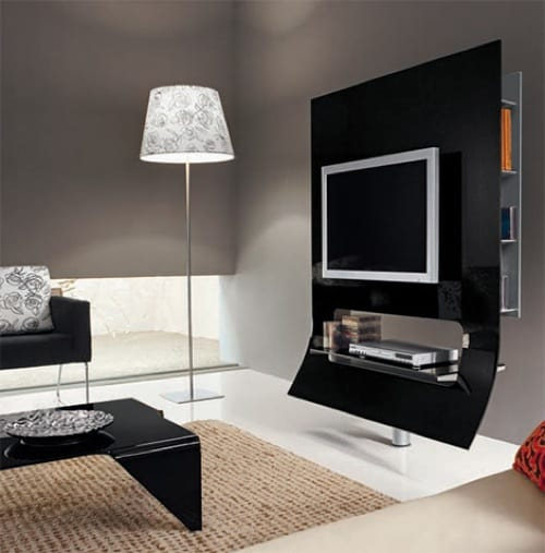 curved black tv stand