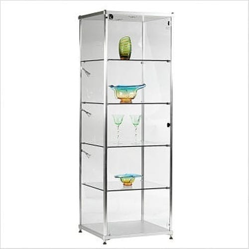 silver and glass curio cabinet