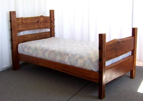 rustic wood twin bed