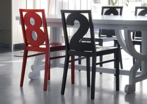 numbered dining chairs