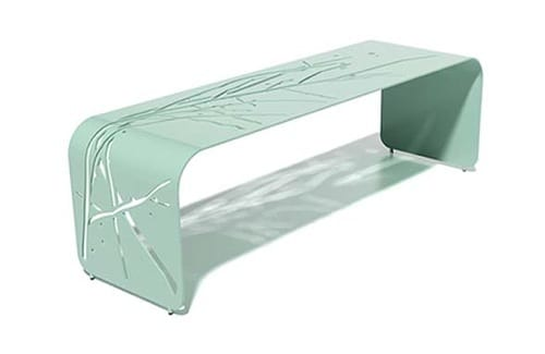 mint green metal bench