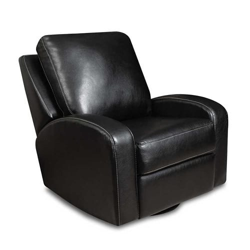 black leather swivel recliner
